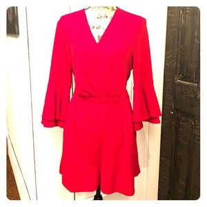 Red flutter-sleeve romper